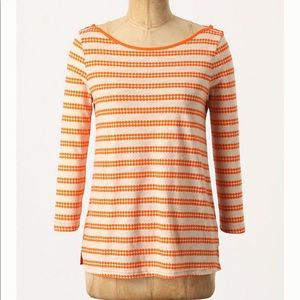 Anthropologie Postmark Dotline Boatneck Top Large